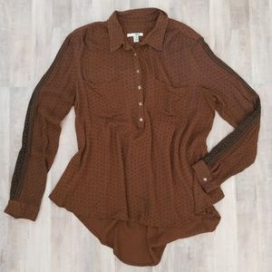 Amuse Society Brown & Black Patterned Top